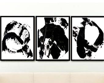Set of 3 Prints, Black And White Art, Abstract Prints, Triptych, Abstract Art Prints, Printable Art, Wall Decor, Wall Art, Instant Download