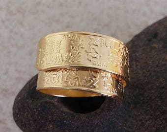 Gold filled adjustable Kabbalah ring with three of the 72 names of G-d - Hebrew letters