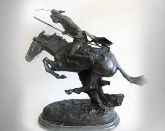"Frederic Remington 23"" cast metal sculpture Cheyenne"
