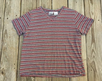 Basic Editions Striped V Neck T Shirt Black and Red 90's Grunge Large
