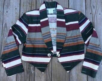 Paris Sport Club Striped Blazer Sport Coat 90's Large Made in USA