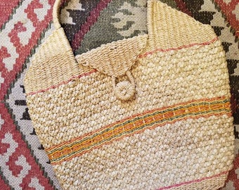 Vintage hand woven wicker tote bag
