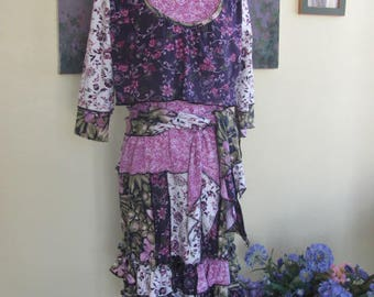 Purple Floral Upcycled Dress T-Shirt T-Skirt