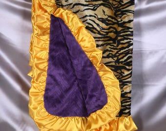 LSU TIGERS Adult Minky Blanket-Throw-Travel Blanket-Cream/Black Tiger Stripe Velboa + Purple Chevron Embossed Minky + Yellow Satin Ruffle