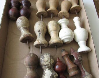 16 Vintage Wood Turned Finial Lot Shabby Finials Repurpose