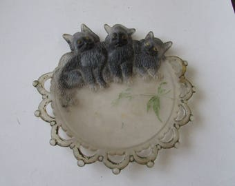 Vintage 3 Black Cats Glass Plate Frosted Cat Halloween or Anytime