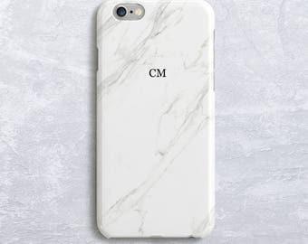 White Marble Custom Initial Personalized Phone Case Monogram iPhone 7 case iPhone 6S Case Samsung S7 Case, Samsung S8 case