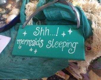 Shh...! Mermaids Sleeping Wooden Sign ~ Turquoise ~ Fairy ~ Children ~ Little Girl ~ Bedroom ~ Decor ~ Under The Sea ~ Ariel