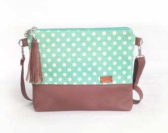 Purse Mint Dots Fabric Handbag Womens Messenger Bag Small Crossbody purse