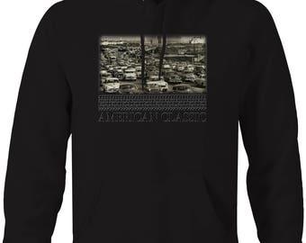 California Highway Vintage Classic Cars American Art Hooded Sweatshirt- 5515