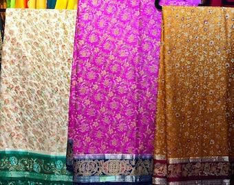 SALE One Printed Art Silk Saree- Choose Your Color /Indian Sari/ Indian Dress /Sari Fabric /Saree Fabric / Indian Fabric/Sari Dress