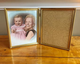 Brass Frame Gold Picture Frame 8x10 Picture Frame Brass Frame Wedding Frame Double Frame Photo Frame Old Frames Antique Frames Bi Fold Frame