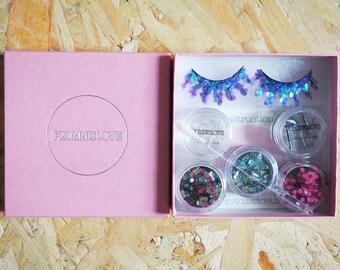 Tropical BIODEGRADABLE Glitter Eyelashes and Glitter Pack