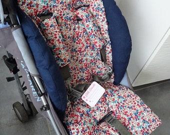 Kit confort poussette molletonné + cache-sangles vrai tissu LIBERTY of LONDON