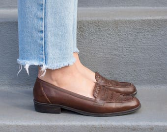 vintage brown leather loafers | woven leather shoes | brown flat leather penny loafer | g h bass leather brown shoes | 8 | 38 | 1970s | 70s