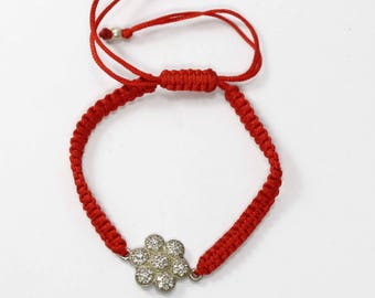 Zircon Silver Beads Macrame Shamballa Bracelet Free Size