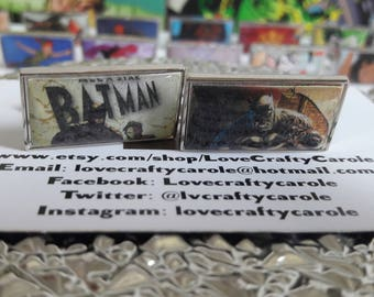 Unique Recycled Comic Playing Card 'Batman' Rectangular Comic Cufflinks - Upcycled & Unique Comic Cufflinks