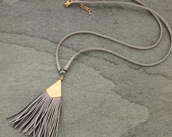Suede Tassel Necklace Gold Gray