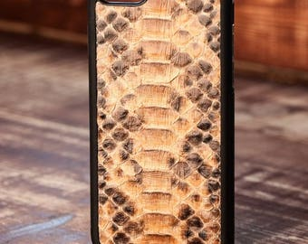 Leather Case with natural Python Leather for iPhone 6/6 Plus & 7/7 Plus