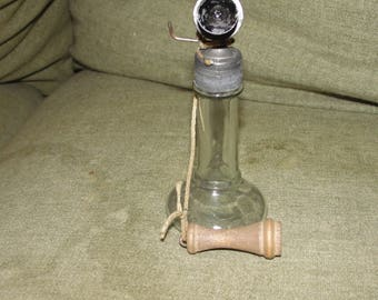 Antique candle stick glass candy holder 1907