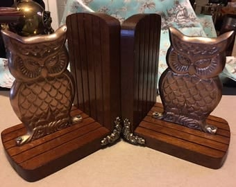 Enesco Brass and Wood Owl Book Ends