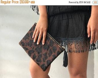 CLEARANCE SMALL flat cheetah jaguar leopard clutch, Genuine leather leopard clutch, animal print clutch, leopard leather clutch, leather clu