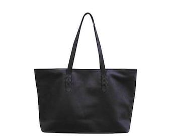 SUMMER SALE SAHAJA - Carry all leather tote, black genuine leather shopper bag, leather tote, laptop bag, tote leather bag, diaper bag, leat