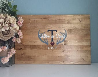 Rustic Wedding Guest Book Alternative / Antler Design/ Painted Rustic Wedding Decor Wood Guest Book Country Woodland Wedding Rustic Glam