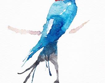 Sitting Swallow Watercolour Print
