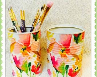 2 peach watercolor decorative pencil holders/dorm decor/brush holders/desk accessories/office organization/classroom decor/gift for teacher
