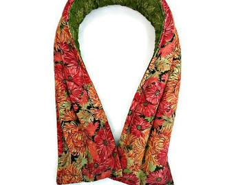 Extra long neck wrap, Fall cooling pad, microwave rice bag, Mums and Marigolds, lavender gift ideas, shoulder pain, birthday gifts for her
