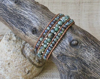 Leather Cuff with African Turquoise/Beaded Leather Cuff/Leather & Stone Cuff/Layering Bracelet/3rd Anniversary/Gift for Her/Boho Jewelry