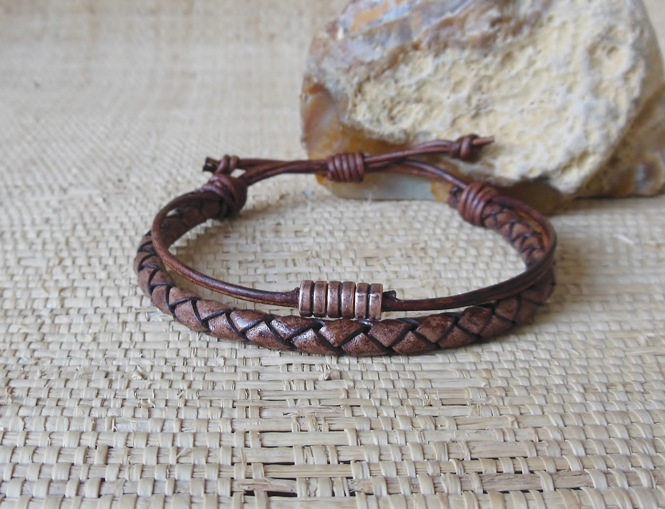 masculine with bracelet braided toggle mens original steel clasp stainless leather brown product