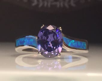 Size 6 1/2 Tanzanite Ring/Sale Tanzanite Opal Ring/Handmade Gemstone Ring/Handmade Lab Tanzanite, Opal and Sterling Silver Ring/Free US Ship