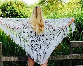 Crochet light gray shawl