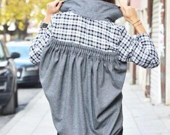 Asymmetric Shepherds Plaid Wool Shirt, Extravagant Grey Oversize Shirt, Casual Maxi Shirt by SSDfashion