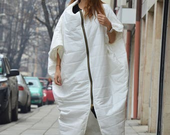 Asymmetric Ivory Sleeveless Coat, Extravagant Long Double Zipper Vest, Side Pockets Loose Vest by SSDfashion