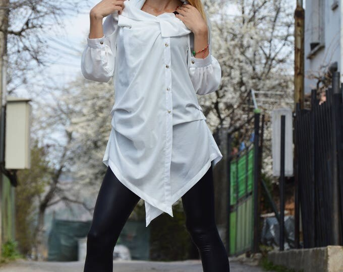 White Georgette Shirt, Extravagant Asymmetrical Shirt, Maxi Tunic, Oversized Tunic Top by SSDfashion