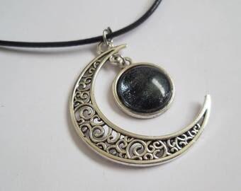 Crescent moon necklace silver glass pendant handmade