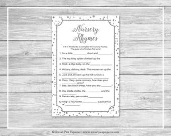White and Silver Baby Shower Nursery Rhyme Game - Printable Baby Shower Nursery Rhyme Game - White and Silver Confetti Baby Shower - SP154