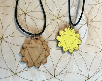 Solar Plexus Chakra Wooden Pendant Necklace - Painted or Natural - 3rd Chakra - Yellow - Manipura