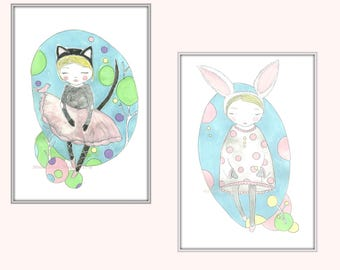 Art Print set of two- Girls bedroom art- cat girl- bunny girl- Children's room decor- whimsical prints- woodland nursery decor- pink- teal