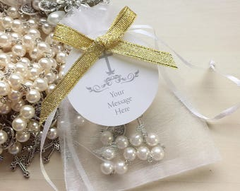 50 Pcs/ Ivory Mini Rosary/White Rosary/pocket rosary/favors/baptism favors/christening/first communion/comunion/decade