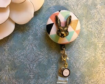 Mounted Bronze Rabbit and The Clock -Nurse Retractable ID Badge Reel/ RN Badge Holder/Doctor Badge Reel/Nurse Badge Holder/Nursing Student