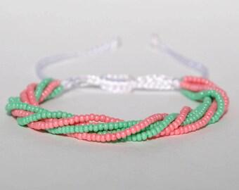 String bracelet Mint bracelet Boho bracelet for girlfriend Adjustable bracelet slide bracelet boho jewelry Gypsy bracelet Rustic bracelet