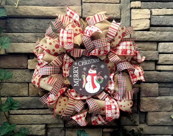 Christmas Wreath, Snowman Wreath, Holiday Wreath, Burlap Wreath, Farmhouse Wreath, Christmas Decor, Farmhouse Decor, Christmas, Farmhouse