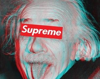 Einstein Poster Large A1 Albert Einstein Sticking Tongue Out SUPREME wall art