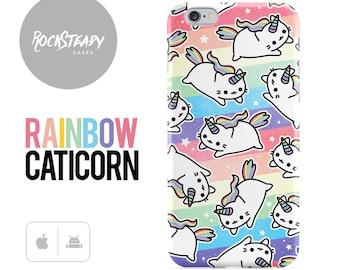 Caticorn Phone case, Rainbow Unicorn iPhone 7, 6s Plus, SE case, samsung Galaxy S8, S7 S6, S5 cat cell phone case, 5s, 5c, kawaii case