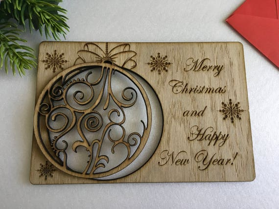 Wooden Merry Christmas Holiday Cards Personalized greeting engraved cards Happy New year Keepsake gift Xmas cards Laser cut Christmas bauble