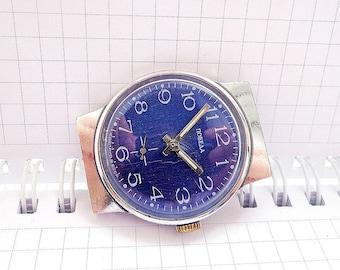 Blue dial vintage soviet Pobeda watch,  wind up mens watch ussr